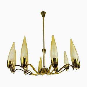 Mid-Century Modern Italian Brass and Glass Chandelier from Stilnovo, 1960s