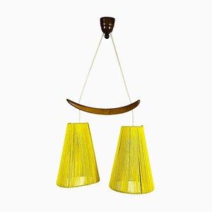 Mid-Century Teak and Cord Shade Hanging Lamp, 1960