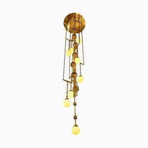 Handgefertigte Cascade-Leuchte aus Messing und Glas im Art-Deco-Stil