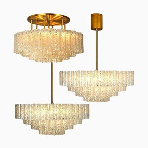 Large Glass Brass Light Fixtures from Doria, Germany, 1969, Set of 3