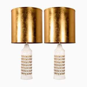 Bitossi Lamps for Bergboms with Custom Silk Shades by Rene Houben, Set of 2