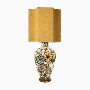 Große handbemalte Gouda Royal Tischlampe mit Seidenlampenschirm, 1930er Jahre