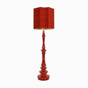 Large Ceramic Floor Lamp with Silk Lampshade