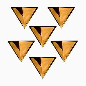 Pyramidenförmige Wandleuchte aus massivem Messing, 1970er Jahre