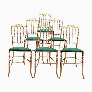 Italian Brass & Emerald Green Velvet Chairs by Chiavari