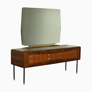 Mahogany Burr Veneer, Mirror, Brass & Metal Chest of Drawers, Italy, 1950s