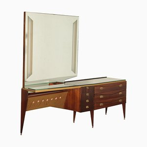Vintage Chest of Drawers in Veneered Wood with Mirror and Glass Top, Italy