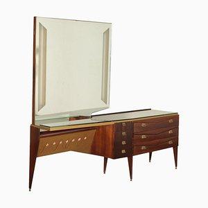 Vintage Kommode aus Furnierholz mit Spiegel und Glasplatte, Italien