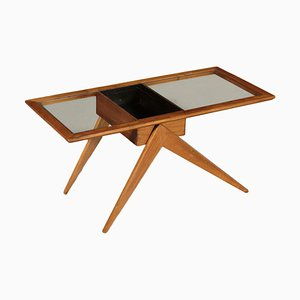 Coffee Table in Solid Wood and Glass, Argentina, 1950s