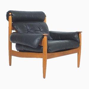 Großer Lederstuhl im Stil von Finn Juhl