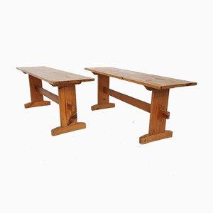 Scandinavian Modern Pinewood Benches, 1960s