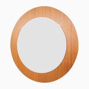 Scandinavian Modern Round Pinewood Mirror, 1960s
