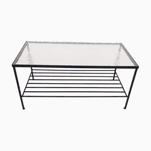 Mid-Century Minimalistic Metal and Glass Coffee Table