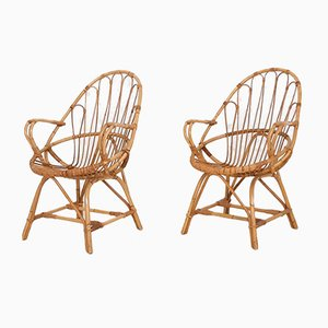 Mid-Century Bamboo Rattan Lounge Chairs, The Netherlands, 1950s, Set of 2