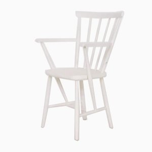 Mid-Century White Spindle Back Armchair