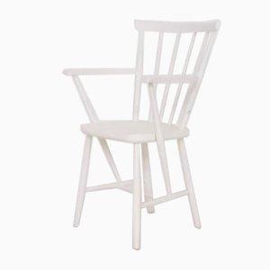 Weißer Mid-Century Sessel mit Sprossen Rückenlehne