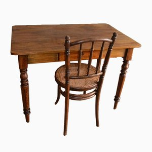 Antique Fruit Writing Desk with Chair, Set of 2