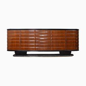 Aparador de madera y mármol verde de Vittorio Dassi para Mobili Furniture, Italia, años 50