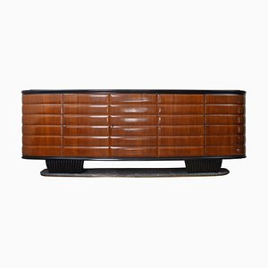 Wood and Green Marble Sideboard by Vittorio Dassi for Mobili Furniture, Italy, 1950s