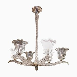 Italian Art Deco Murano Glass and Brass Chandelier, 1930s