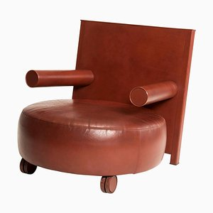 Brown Leather Rounded Armchair by Antonio Citterio for Italia B&B