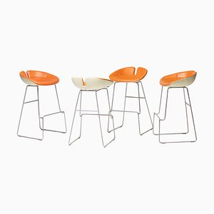 Fjord Leather Barstools by Patricia Urquiola, Set of 4