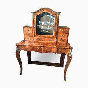 19th Century Antique Victorian Burr Walnut Bonheur Du Jour Writing Desk