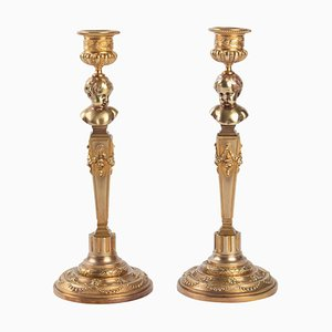 Vergoldete Bronzekandelaber, 2er-Set