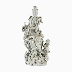 Weiße Statuette aus Porzellan mit Göttlichkeit und Kind