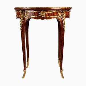 Mesa pedestal de marquetería y bronce dorado