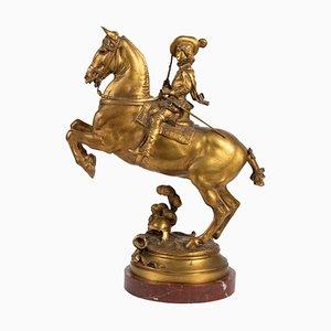 E. Frémiet, jinete, bronce