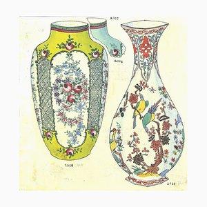 Gabriel Fourmaintraux, Amphore und Vase, Originaltinte und Aquarell, Anfang 1900