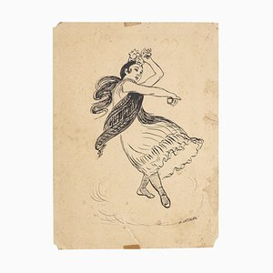 Adolphe Willette, the Spanish with Castanes, Original Drawing, 1890s