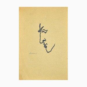 Mino Maccari, Man in Profile, Original Aquarell, 1950er