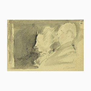 Mino Maccari, Portrait de couple, crayon original et aquarelle, 1950