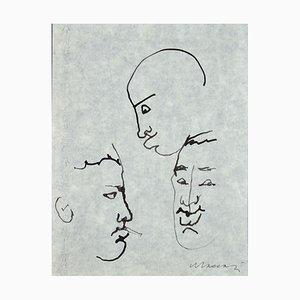 Mino Maccari, Porträts von Giorgio Morandi, Feder auf Seidenpapier, 1955