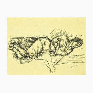 Mino Maccari, femme endormie, dessin original à la plume, 1950