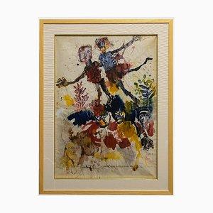 Sergio Barletta, Hommage à # o Klee, Tempera et aquarelle originales, années 60