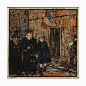 Jane Levy, París, Escuela de Artes Decorativas, Técnica Mixta Original 1914