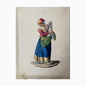 Michela De Vito, Costume of Naples, Original Gouache, 19th Century