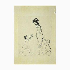 Sergio Barletta, Figures, Original Ink Drawing on Paper, 1958