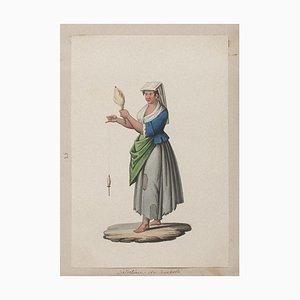 Michela De Vito, Neapolitan Costume, Original Gouache, 19th Century