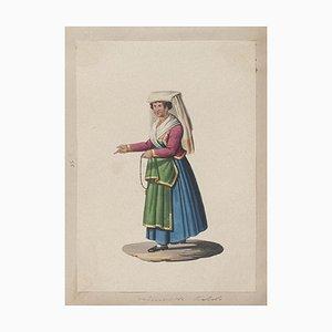 Michela De Vito, Kostüm von Neapel, Original Gouache, 19. Jahrhundert