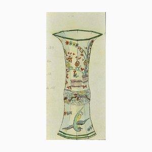 Gabriel Fourmaintraux, Chinesische Vase mit Nachtigall, 1940er