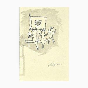 Mino Maccari, Figuren mit Hörnern, Original Tinte & Wasserfarbe auf Papier, 1920er