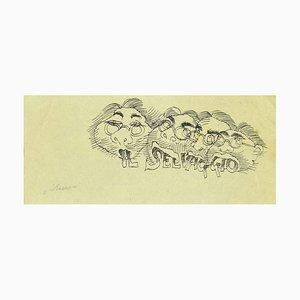 Mino Maccari, Studie für einen Umschlag von Il Selvaggio, Tusche auf Papier, 1920er
