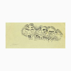 Mino Maccari, Study for a Cover of Il Selvaggio, Ink on Paper, 1920s