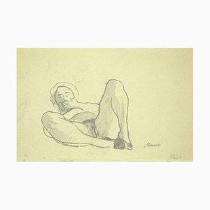 Mino Maccari, weibliche Figur, originale Bleistiftzeichnung, 1920er