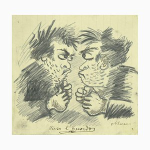 Mino Maccari, Auf dem Weg zum Abkommen, Original Bleistift und Kohle, 1930er Jahre
