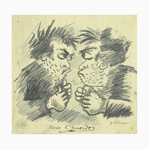 Mino Maccari, Towards the Agreement, Originaler Bleistift & Kohle, 1930er